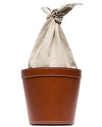 STAUD - Brown Britt Leather Linen Bucket Bag - Lyst