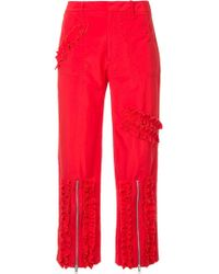 Molly Goddard - Ruched Stripe Cropped Trousers - Lyst