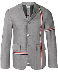5242f0cd7b5 Thom Browne Engineered Wool Bomber Jacket in Gray for Men - Lyst