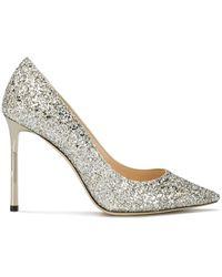 ca5d59766428 Jimmy Choo Aza Glitter Kitten-Heels in Metallic - Lyst