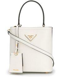 6f671e58887e Prada White Middolino Straw Bucket Bag in White - Lyst