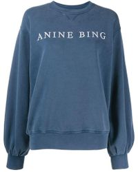 563e67a74bc9a9 Anine Bing - Esme Embroidered - Logo Sweatshirt - Lyst