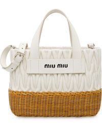 Miu Miu - Matelassé And Wicker Tote Bag - Lyst