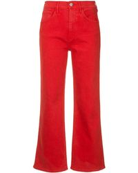 3x1 Shelter Wide Leg Cropped Jeans - Red