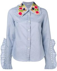 Manoush - Knife Pleats Embellished Collar Shirt - Lyst