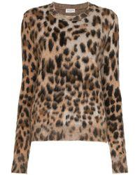 Saint Laurent - Leopard Print Mohair Blend Sweater - Lyst