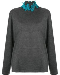 Kolor Embroidered Floral Neck Sweater