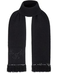 Fendi - Cashmere Embroidered Fringed Scarf - Lyst