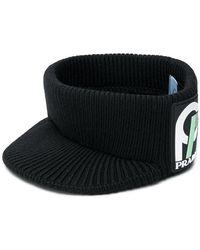 Prada - Logo Patch Knitted Hat - Lyst