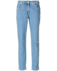 Moschino - Studded Straight Leg Jeans - Lyst