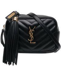 Saint Laurent - Black Quilted Logo Detail Leather Belt Bag - Lyst