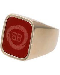 Balenciaga - Red Square Logo Ring - Lyst
