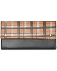 a3049932f1a Burberry Check Print Continental Zip Around Wallet - Lyst