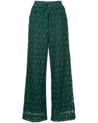 MUVEIL - Printed Wide Leg Trousers - Lyst