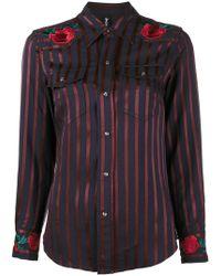Adam Selman - Rose Embroidered Stripe Cowgirl Shirt - Lyst