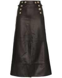 SKIIM - Farrah Button Detail Leather Skirt - Lyst
