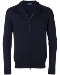 Zanone - Virgin Wool Zip Front Cardigan - Lyst