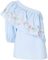 Vilshenko - Embroidered Asymmetric Blouse - Lyst