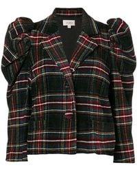 Isa Arfen - Puff Sleeve Tartan Wool Chenille Blazer - Lyst