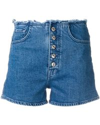 7 For All Mankind - Frayed Waist Denim Shorts - Lyst