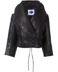 Aganovich - Wide Lapel Leather Cropped Jacket - Lyst
