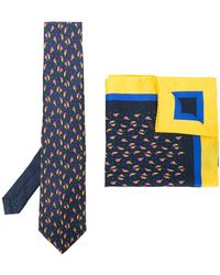 Etro - Bird Print Tie And Pocket Square Set - Lyst