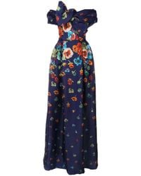 Carolina Herrera - Floral Draped Dress - Lyst