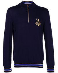 Billionaire - Embroidered Half Zip Sweater - Lyst
