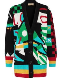 Burberry - Graphic Intarsia Merino Wool Cotton Cardigan - Lyst