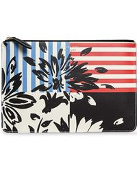 Burberry - Large Floral Stripe Print Leather Zip Pouch - Lyst