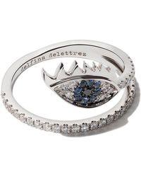 Delfina Delettrez - 18kt White Gold, Diamond And Sapphire Marry Me Eye Ring - Lyst