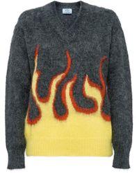 Prada - Jersey con llamas en intarsia - Lyst