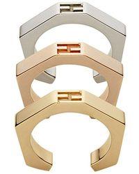 Fendi - Set Of Three Baguette Rings - Lyst
