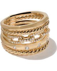 David Yurman - 18kt Yellow Gold Stax Diamond Wide Ring - Lyst