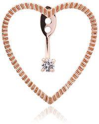 Yvonne Léon - 18k Rose Gold And Diamond Heart Earring - Lyst