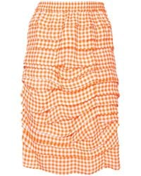Calvin Klein - Layered Effect Gingham Print Skirt - Lyst