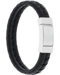 Prada - Woven Leather Bracelet - Lyst