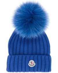 754cffceb950b Moncler Knit Beanie With Fur Pompom in White - Lyst