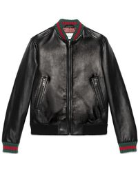 Gucci - Leather Jacket With Web - Lyst