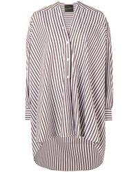 Erika Cavallini Semi Couture - Striped Collarless High Low Shirt - Lyst