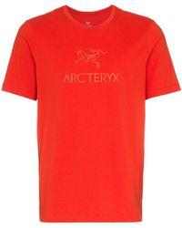 Arc'teryx - Arc'teryx Red Logo Printed Crew Neck Cotton T-shirt - Lyst