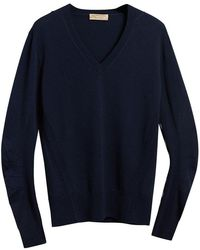 Burberry - Check Detail V-neck Sweater - Lyst