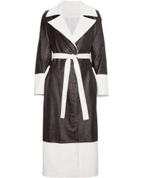 SKIIM - Black Leather Coat With Contrast Detail - Lyst