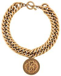 Roberto Cavalli - Medallion Chunky Chain Necklace - Lyst