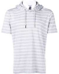 Eleventy - Striped Hoodie T-shirt - Lyst