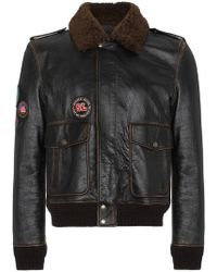 Saint Laurent - Leather Flight Jacket With Patches - Lyst