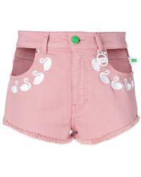 Gcds - Embroidered Flamingos Denim Shorts - Lyst