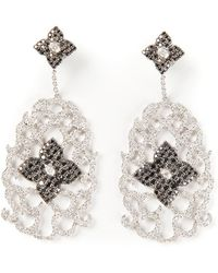 Elise Dray - Diamond Floral Pavé Earrings - Lyst