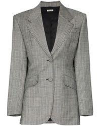 Miu Miu - Single-breasted Prince Of Wales Check Print Wool Blazer - Lyst