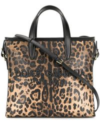 Dolce   Gabbana - Leopard Medium Market Shopping Tote - Lyst 5a9234ea4f989